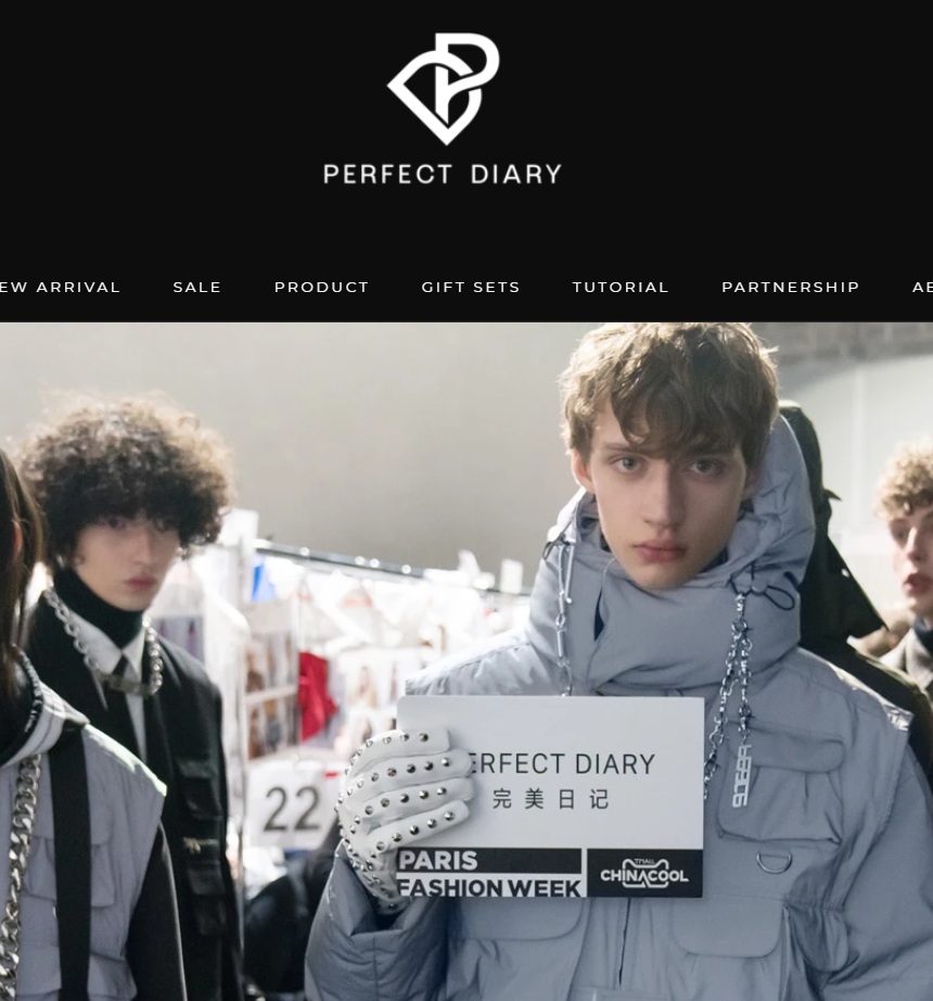 An image from Perfect Diary's English website showing their presence at Paris Fashion Week.