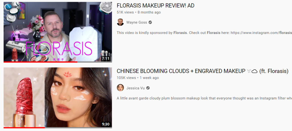 Florasis review videos on YouTube.