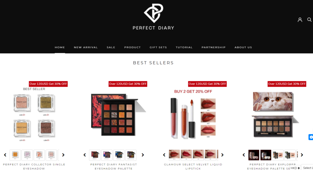 An image from Perfect Diary's English website showing its makeup offerings and attractive packaging.